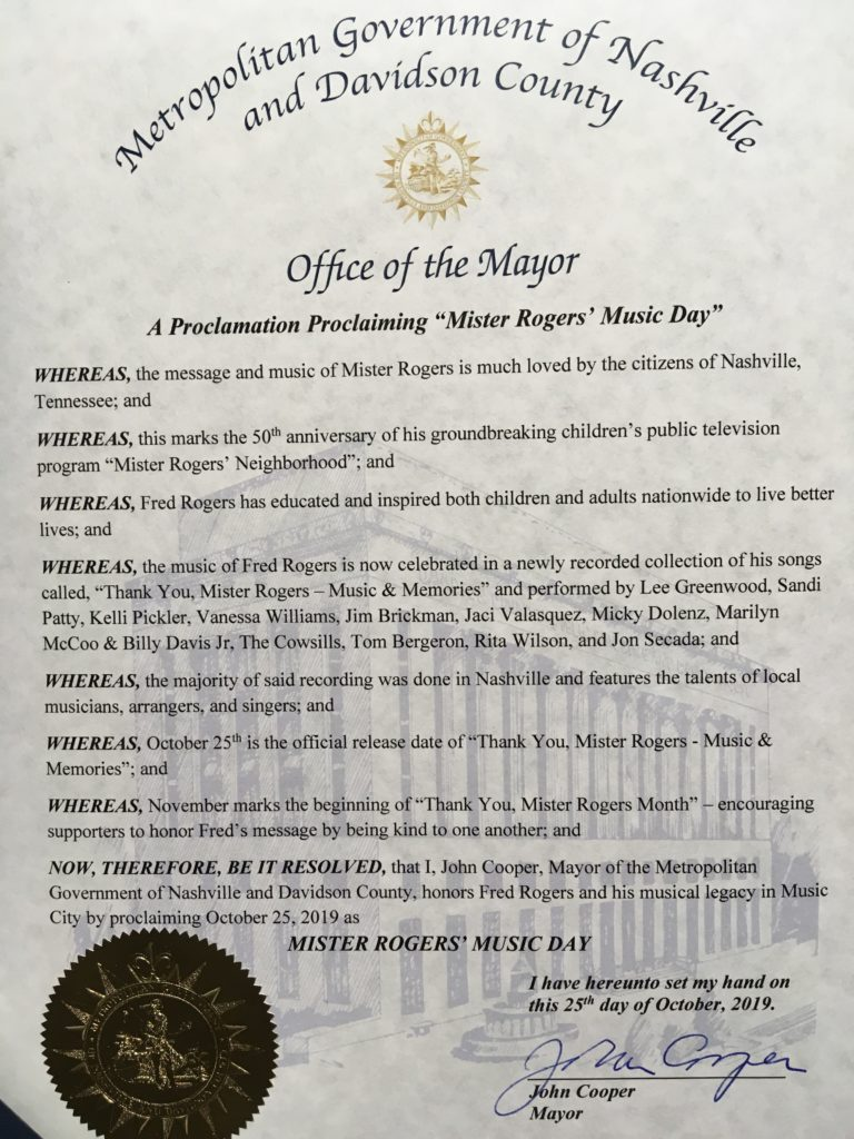 "Nashville ""Mister Rogers' Music Day"" Proclamation"